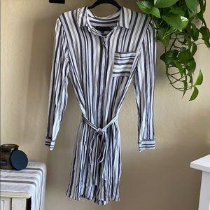 Banana Republic striped belted long sleeve dress